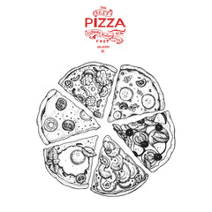 Italian Pizza hand drawn vector illustration. Pizza slices in a circle. Packaging design template. Sketch illustration.