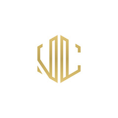 Initial letter VL, minimalist line art hexagon shape logo, gold color