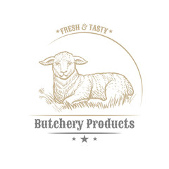 Isolated vintage golden and royal emblem of farm animal. Fresh and tasty lamb meat. Butchery products market. Hand made illustration and lettering. Concept template for branding