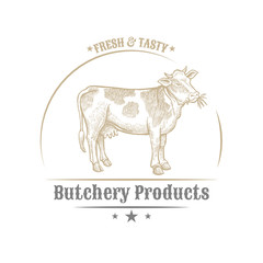 Isolated vintage golden and royal emblem of farm animal. Fresh and tasty Cow meat. Butchery products market. Hand made illustration and lettering. Concept template for branding