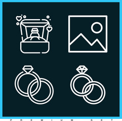 Set of 4 luxury outline icons