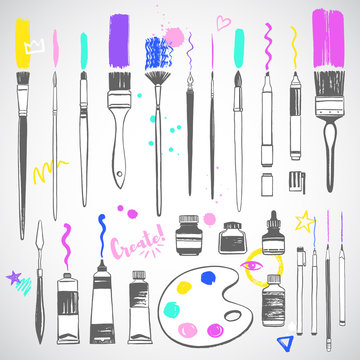 Hand drawn art tools, objects, artist equipment illustrations set. Fan, flat, round, watercolor brushes with strokes and splash, doodle. Paint bottle, jar, oil or acrylic tube, pencil, pen, palette.