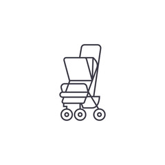 baby carriage vector line icon, sign, illustration on white background, editable strokes
