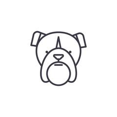 bulldog head vector line icon, sign, illustration on white background, editable strokes