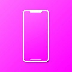 Pink phone in a new modern design on a pink background