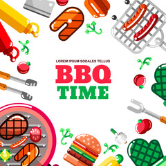Barbecue grill vector frame with white background. BBQ food, equipment and tools illustration. Banner, poster design