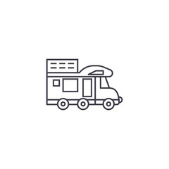 camping van vector line icon, sign, illustration on white background, editable strokes