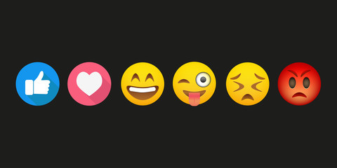 Abstract funny flat style emoticon reactions color icon