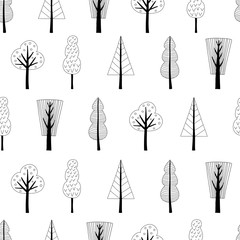 Seamless pattern with trees in Scandinavian style