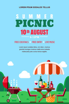 Summer barbecue picnic, vector poster, banner layout. BBQ grill, table with food and wine. Outdoors weekend background.