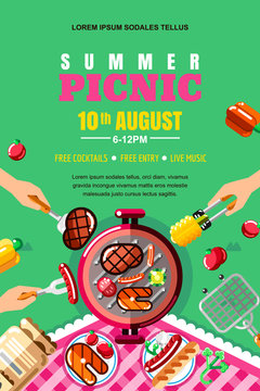 Summer barbecue picnic, vector poster, banner layout. Top view BBQ grill with steak, fish. Human hands with food