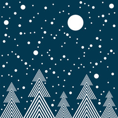 Night in forest vector seamless pattern.