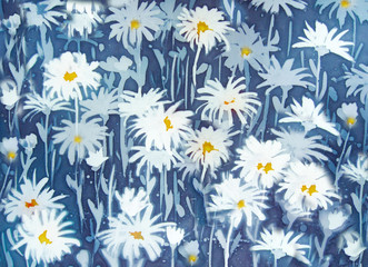 Chamomiles - floral abstraction on blue background, an original modern batik painting on silk