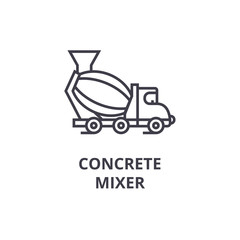 concrete mixer vector line icon, sign, illustration on white background, editable strokes