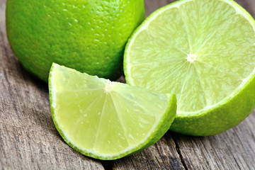 Fresh lime on old wood table