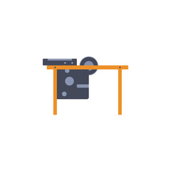colored Circular saw table illustration. Element of construction tools for mobile concept and web apps. Detailed Circular saw table illustration can be used for web and mobile