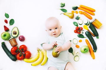 Healthy baby child nutrition, food background, top view.