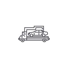 car transporter vector line icon, sign, illustration on white background, editable strokes