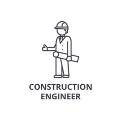 construction engineer vector line icon, sign, illustration on white background, editable strokes