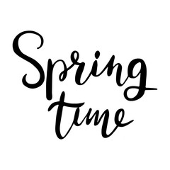Spring time. Hand lettering, typographic element. Design for T-shirts, bags posters invitations, greeting cards, pillows etc. Vector illustration