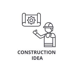construction idea vector line icon, sign, illustration on white background, editable strokes
