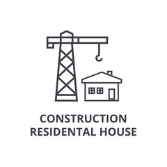 construction residental house vector line icon, sign, illustration on white background, editable strokes