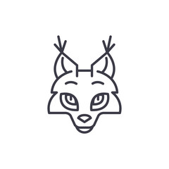 coyote head vector line icon, sign, illustration on white background, editable strokes