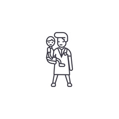 doctor with a child vector line icon, sign, illustration on white background, editable strokes
