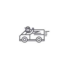 fast delivery service vector line icon, sign, illustration on white background, editable strokes