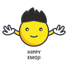 hippy emoji vector line icon, sign, illustration on white background, editable strokes