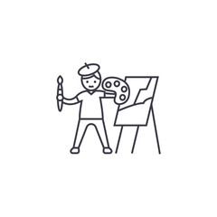 painting a picture vector line icon, sign, illustration on white background, editable strokes