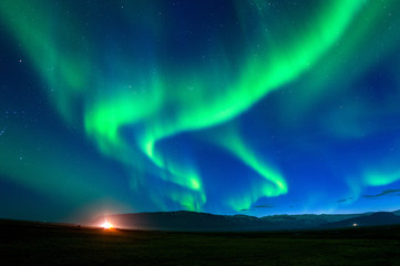 Northern lights (Aurora borealis) at night.