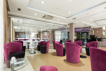 Hotel lobby cafe interior