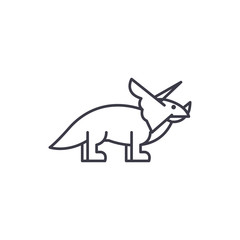 triceratops vector line icon, sign, illustration on white background, editable strokes