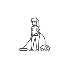 vacuum cleaning vector line icon, sign, illustration on white background, editable strokes