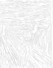 The Scream (1893) by Edvard Munch adult coloring page