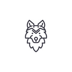 wolf head vector line icon, sign, illustration on white background, editable strokes