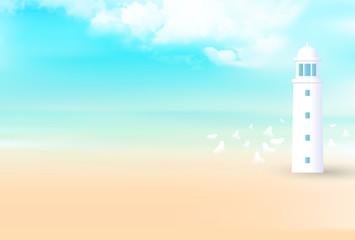 海 夏 灯台 背景