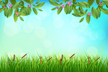 Exotic tropical leaf and frower border background in greeting template.