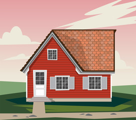 Beautiful red house with white Windows. shutters, wooden Windows, wooden cozy house. A house in the country. Vector graphics
