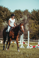 A woman jockey participates in competitions in equestrian sport, jumping.