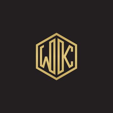 Initial letter WK, minimalist line art hexagon shape logo, gold color on black background