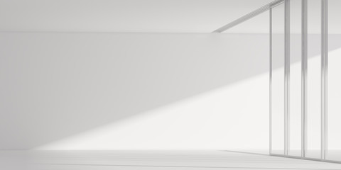 3D stimulate of white room interior space and concrete floor with sun light cast rhythm of shadow on the wall,Perspective of minimal design architecture