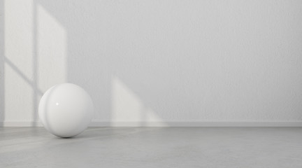 Abstract of white geometric sphere balls are on clean concrete floor and wall background.3d rendering