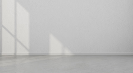 3D stimulate of white room interior and concrete floor with sun light cast the shadow on the wall,Perspective of minimal design architecture
