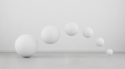 Abstract of white geometric sphere balls are flow on clean concrete floor and wall background.3d rendering