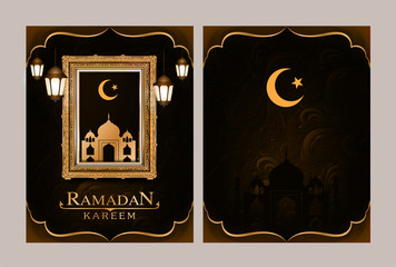 Annual report and Blue pattern of ramadan kareem card and frame