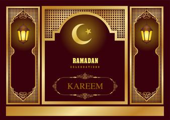 drak red pattern of ramadan kareem card