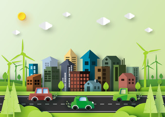 Eco green energy city and urban nature landscape environment paper art style.Vector illustration.