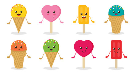 Set, collection of cute, funny vector cartoon ice cream characters, smiling, having good time.